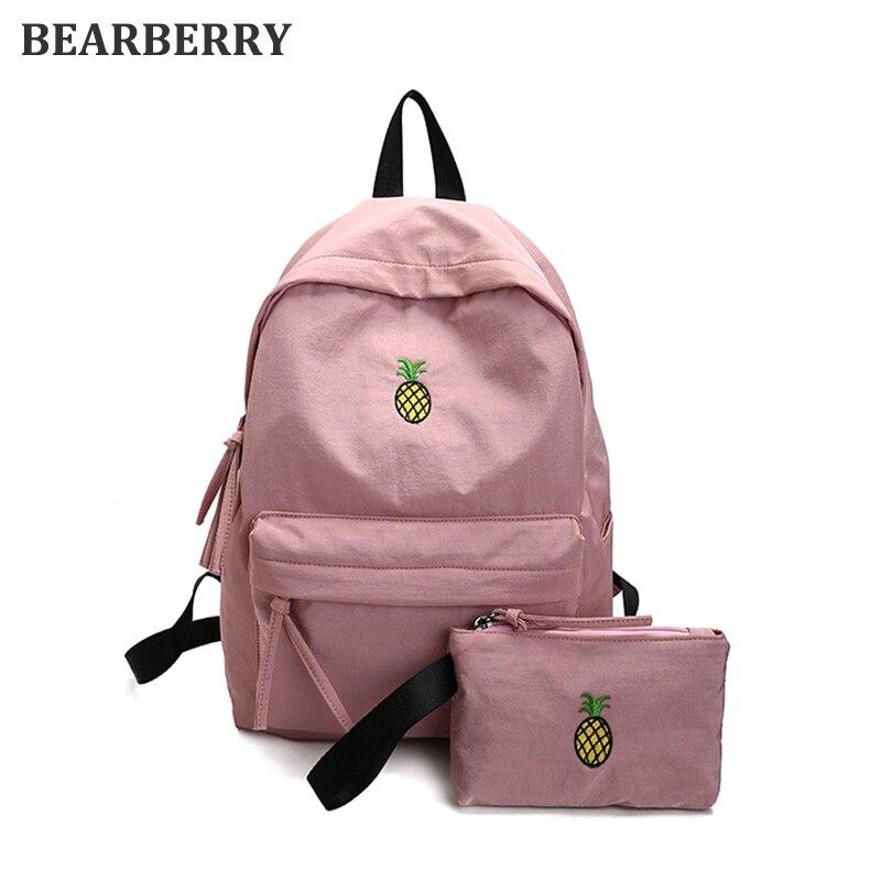 BEARBERRY Women canvas Backpack 2 PCS/Set High College School Students Shoulder Bag Waterproof Fruit Pineapple Embroidery bag комплект сменных картриджей к стационарному фильтру ita filter стандарт серия нева