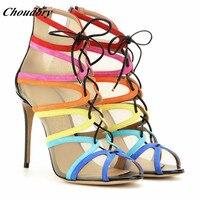 Choudory/пикантные разноцветные веревки с вырезами Женские сандалии гладиаторы из натуральной кожи сандалии с открытым носом, на высоком тонко