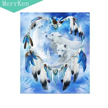 Merrken 5d Diy diamond painting cross stitch dreamcatcher Snow Wolf diamond embroidery diamond mosaic home decor 30*35cm