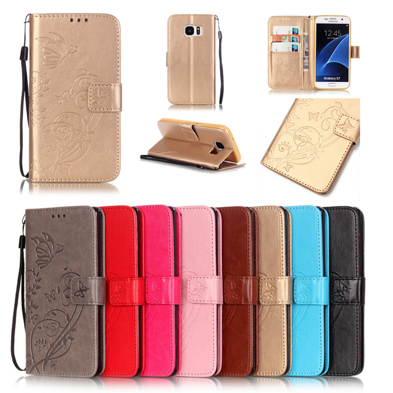 For <font><b>Samsung</b></font> Galaxy S2 S3 <font><b>S4</b></font> S5 Mini S6 Edge Plus S7 Edge Note4 Note5 <font><b>Case</b></font> TPU Leather Back Cover Butterfly <font><b>Flip</b></font> Wallet Phone Bag image