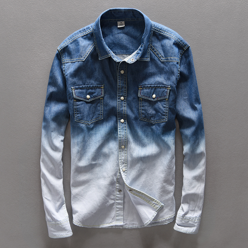 Brand Clothing 100 Cotton Men Shirt Denim Jeans Mens