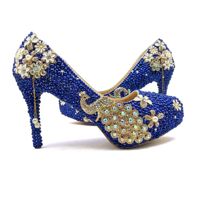 2b49a60cba27 Royal Blue Pearl Bridal Shoes with Matching Bag Gorgeous Design Peacock  Style Rhinestone Wedding Party Shoes