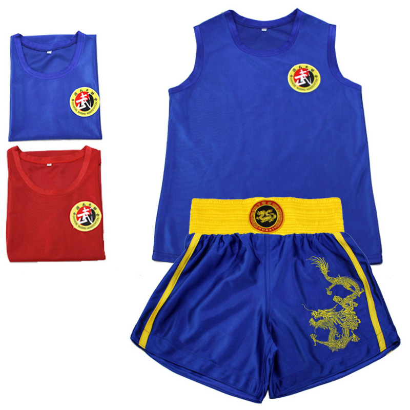 USHINE Kick Boxing Uniforms Tank + MMA Muay Thai Boxing Suits Man Sanda Shorts Kungfu Wushu Suits Children Boxing Wushu Clothes