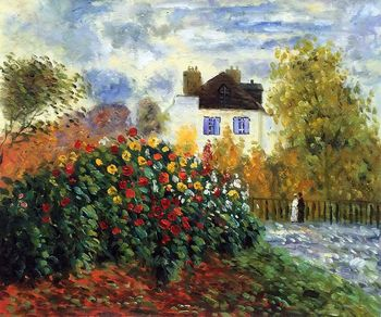 Hand Painted, Canvas Oil Painting for Living Room, The Garden of Monet at Argenteuil, Claude Monet Decorative Arts