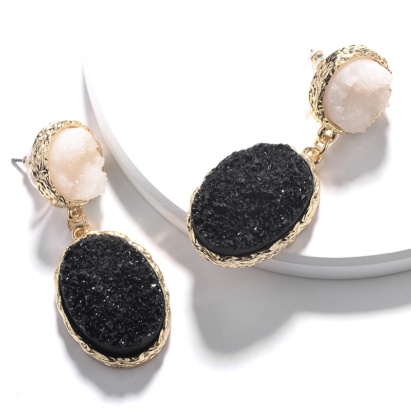 Fashion Zinc Alloy Gold Plating Circle Oval Shape Imitation Resin Druzy Stone Earring in Drop Earrings from Jewelry Accessories