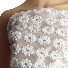1Yard 3D African Rosette Chiffon Sequins Lace Fabric for Wedding Dress,Width 130cm,Tulle Embroidered Diy Sewing Tissue lace