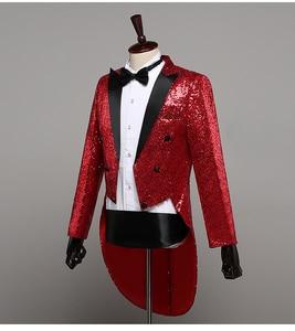 Image 5 - PYJTRL Mens แฟชั่นแชมเปญ Gold Silver Red Blue Black Sequins Tuxedo Swallowtail นักร้อง Paillette แจ็คเก็ตเครื่องแต่งกาย