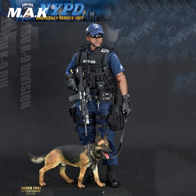 065db177 For Collection Soldier Story 1/6 NYPD ESU K-9 Division Police K9 Unit  Action Figure With Police dog Male Soldier Figure full set