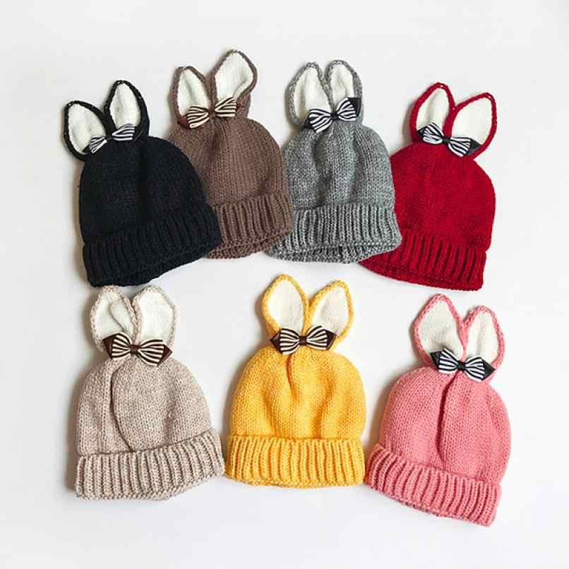 809618ef1f2 Knitted Butterfly Rabbit Ears Baby Toddler Winter Warm Hat Knitted Cap Kids  F7