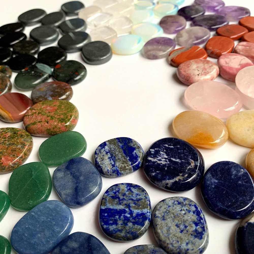 7 Chakra ชุดหินธรรมชาติคริสตัลปาล์มหิน Spiritual Healing การทำสมาธิแบนคริสตัล Fengshui Home Decor