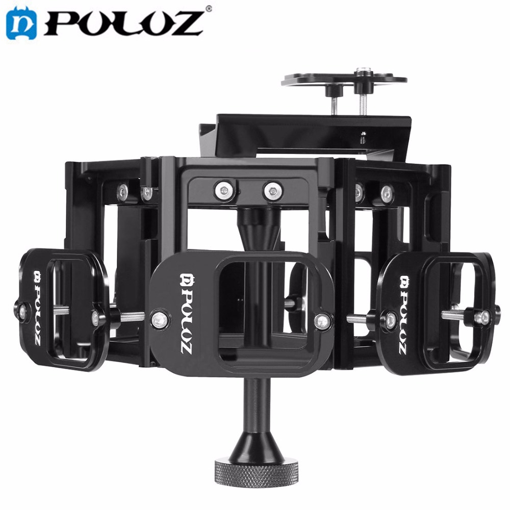 PULUZ for Go Pro Accessories 8 in 1 All View Panorama Frame CNC Aluminum Alloy Protective Cage with Screw for GoPro HERO5 HERO 5 aluminum alloy gopro frame for gopro hero 5