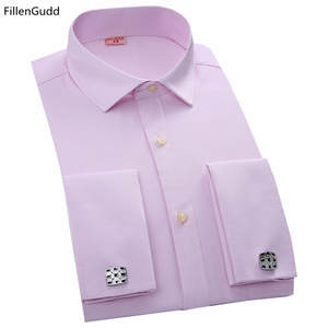 Fillengudd Shirts Male Cufflinks Casual-Dress Slim-Fit Long-Sleeve French High-Quality