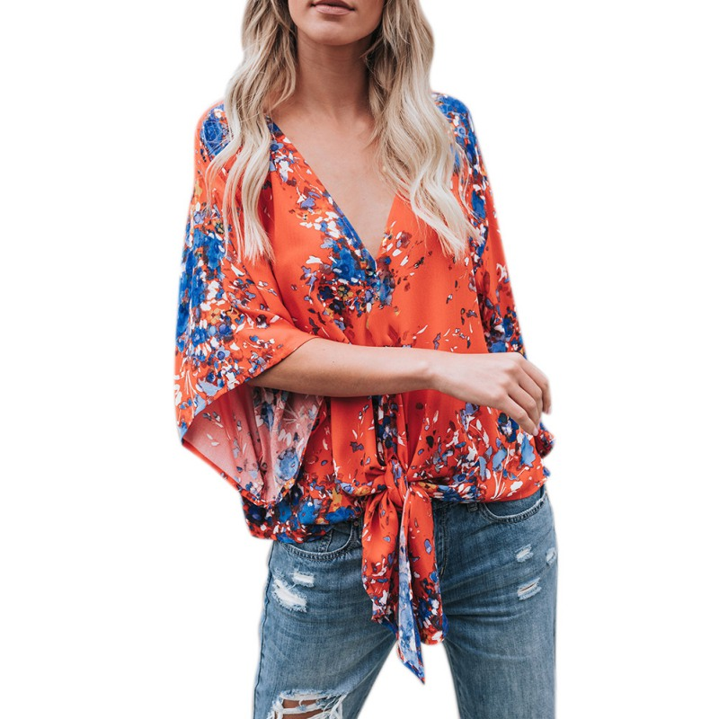 Summer Shirt Women Shirt Three quarter Sleeve Female 2018 New floral V-neck Fashion WH6
