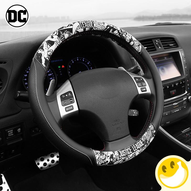 Housse de volant de voiture universelle style Justice Alliance 38 CM couvre-volant de Sport Auto style Auto anti-dérapant Auto