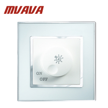 MVAVA rectifier dimmer switch 220v Max 800W european waterproof  light dimmer wall switch Luxury Chromed Arylic Mirror panel