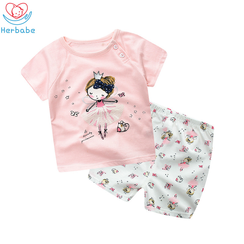 Herbabe Summer Newborn Baby Girl Clothes Sets Cotton Print Short Sleeve Infant Clothing 2Pcs Children Outfits T-shirt+ Pant
