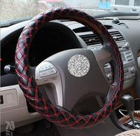 38cm Universal Car Steering Wheel Cover Auto Supplies Nubuck Leather Cover Red White