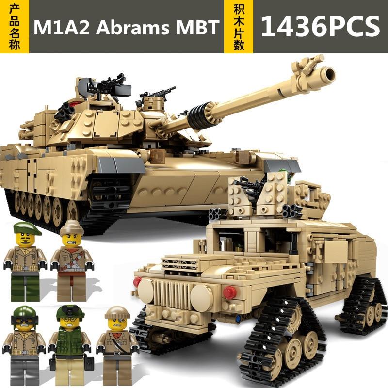 1463pcs KAZI Technic Military Theme Tank Diy Building Blocks M1A2 Abrams MBT Model Compatible with Legoingly Toys For Children1463pcs KAZI Technic Military Theme Tank Diy Building Blocks M1A2 Abrams MBT Model Compatible with Legoingly Toys For Children