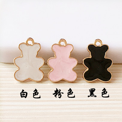New Arrival Alloy Jewelry Enamel Charms Gold Tone Plated Metal Kawaii Animal Bear Shape Necklace Bracelet Floating Charm Pendant