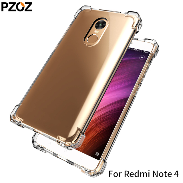buy popular 98772 b3057 US $4.04 19% OFF|PZOZ redmi note 4 case silicone luxury shockproof xiaomi  redmi note4 Cover Transparent Clear Protective xiomi note 4 32GB 64GB-in ...