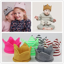 2016 NEW children crown baby knitting wool hats for gril boy and empty top hat and