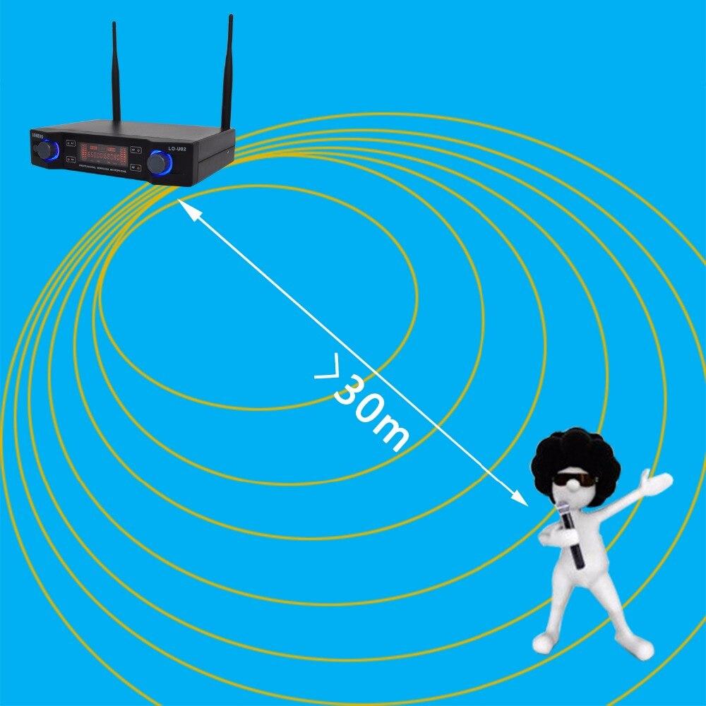 Lomeho LO-U02 2 fréquences UHF portables Capsule dynamique 2 canaux Microphone sans fil pour système karaoké - 2