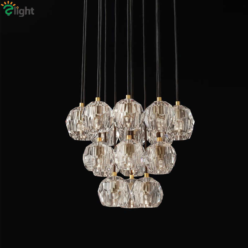 American RH Retro Lustre Crystal Shades Pendant Lamp G4 Led Pendant Light Indoor Suspend Lamp For Living Room