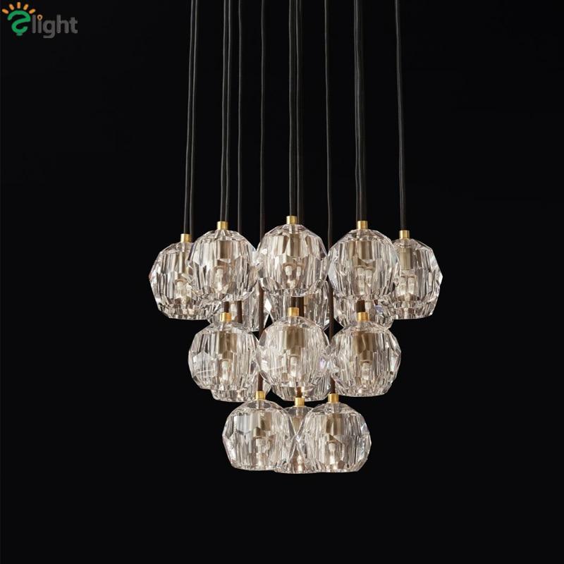 American RH Retro Lustre Crystal Shades Pendant Lamp G4 Led Pendant Light Indoor Suspend Lamp For Living Room