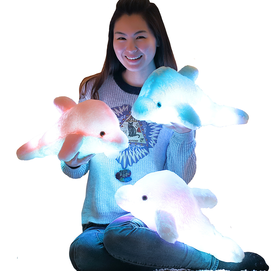 45cm Creative Luminous Plush Dolphin Doll Glowing Pillow, LED Light Plush Animal Toys Colorful Doll Kids Children's Gift WJ453  high quality colorful change bear luminous pillow soft plush pillow led light pillow kids toys