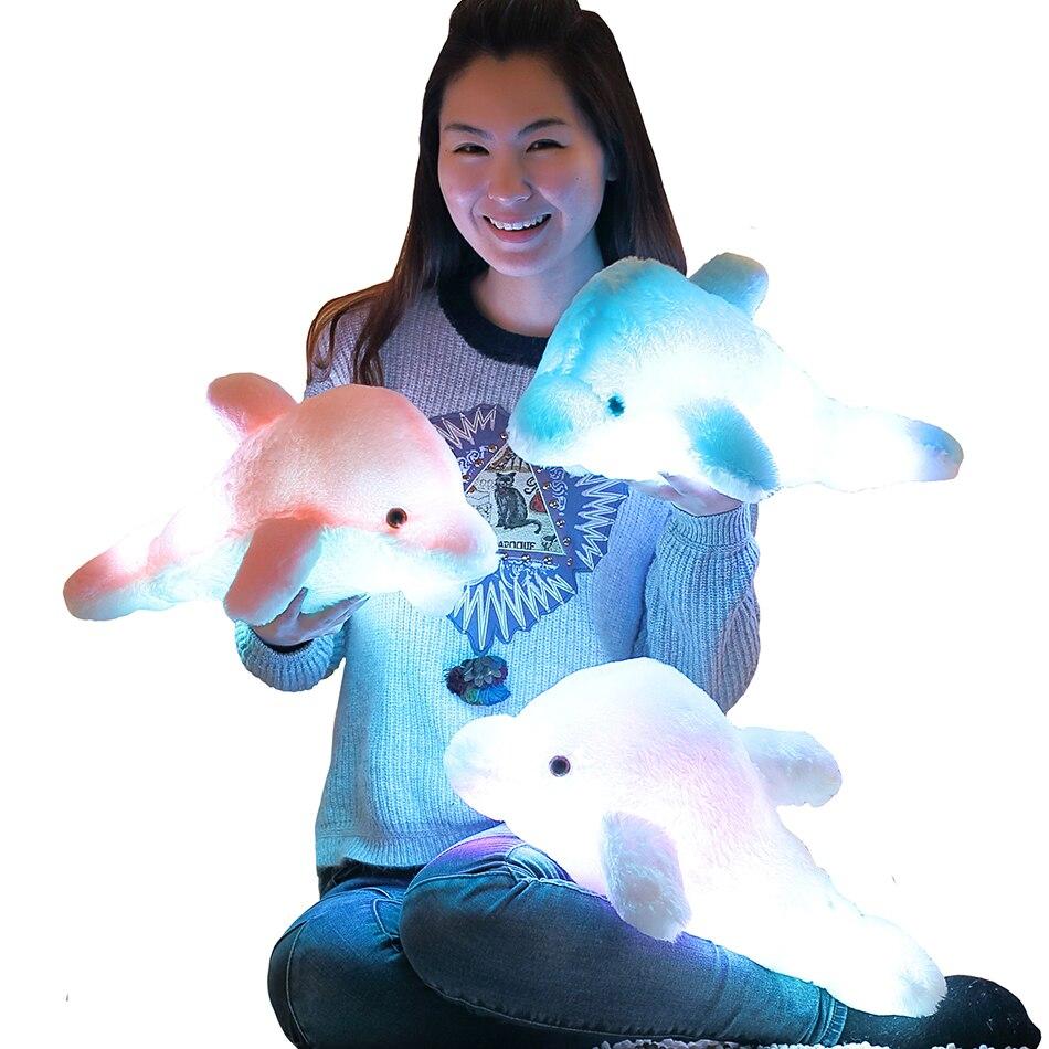 45cm Creative Luminous Plush Dolphin Doll Glowing Pillow, LED Light Plush Animal Toys Colorful Doll Kids Children's Gift WJ453 retail gudetama lazy egg eggs jun egg lazy balls creative nap u pillow neck pillow cartoon hat plush doll wj01