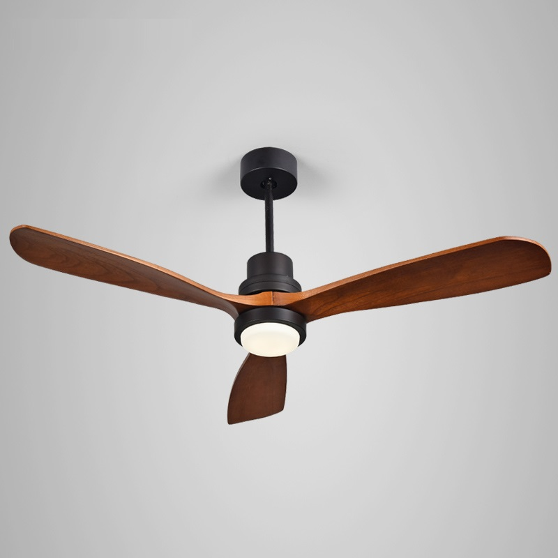 LukLoy New LED Ceiling Fan For Living Room 220V Wooden Ceiling Fans With Lights 52 Inch Blades Cooling Fan Remote Fan Lamp