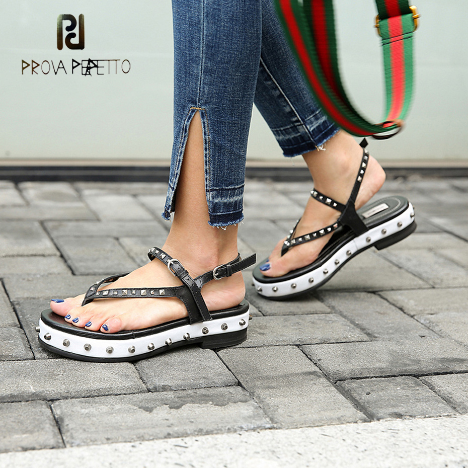 Prova Perfetto rivet narrow band clip toe sandals women thick bottom buckle strap leisure gladiator sandals