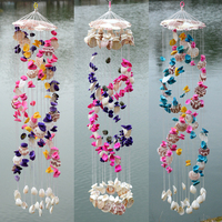 Shell Chimes Natural Shells Wind Chime Hanging Marine Decoration Seashell Windbell Bells Crafts Ornaments Nautical Beach Decor