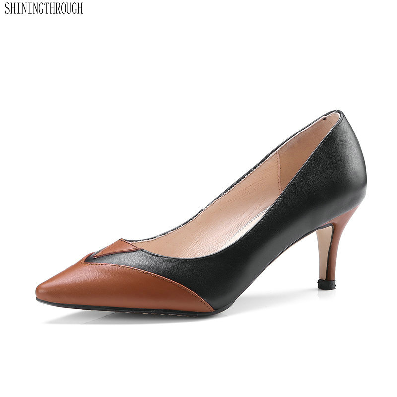 New genuine leather 6cm thin heels women shoes summer office ladies dress shoes black white women pumps large size 43 aercourm a 2018 new women genuine leather shoes ladies white pink dress solid shoes thin heel women pointed head pumps fde1121