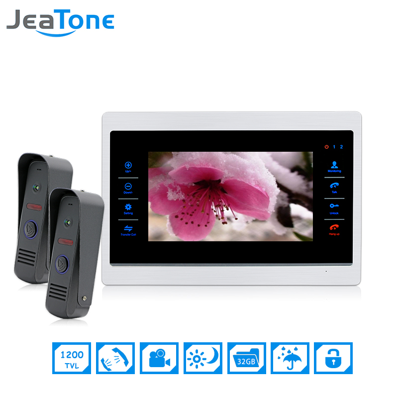 JeaTone 7 inch 2 to 1 Color Video Door Phone Intercom Door Bell Door Speaker Hands-free Touch Button Monitor IR Doorbell Camera 19 inch infrared multi touch screen overlay kit 2 points 19 ir touch frame