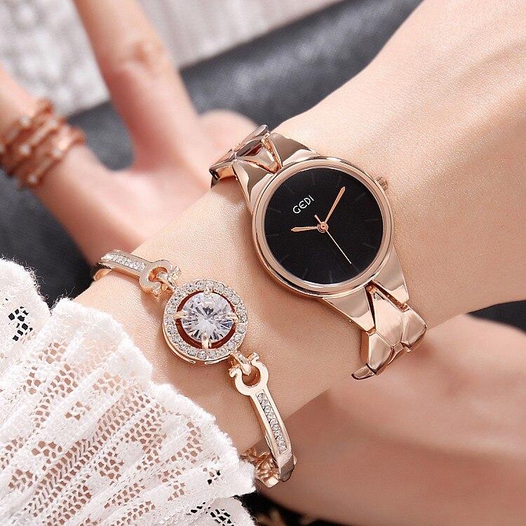 2018 Hot Gedi moda Rosa oro mujeres relojes Top lujo marca señoras reloj de cuarzo 2 unidades relojes Relogio feminino hodinky