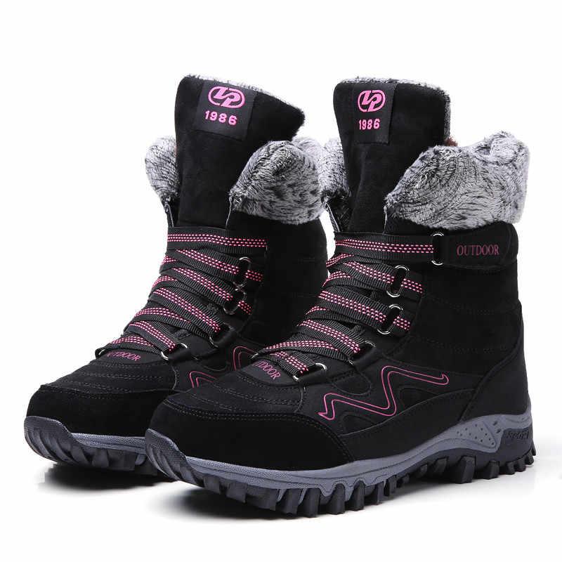 PINSEN Marka Moda 2019 Kadın Çizmeler Süet Deri Su Geçirmez Kışlık Botlar Kadın Sıcak Tutmak dantel-up Kar Botları chaussures femme