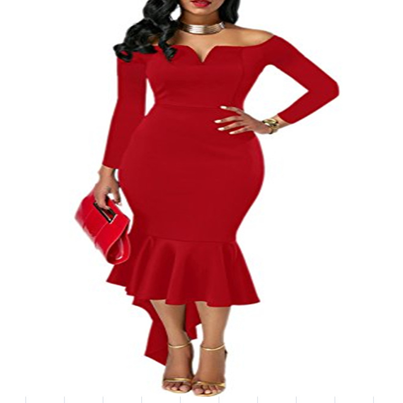 8 Colors Women's Bodycon Off Shoulder Dress Long Sleeve High Low Mermaid Party Dresses Sexy V-Neck Vintage Peplum Robe Femme