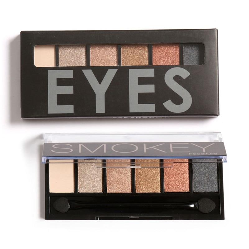 FOCALLURE 6 colores Shimmer Matte Eyeshadow Palette Sombra de ojos de - Maquillaje - foto 3