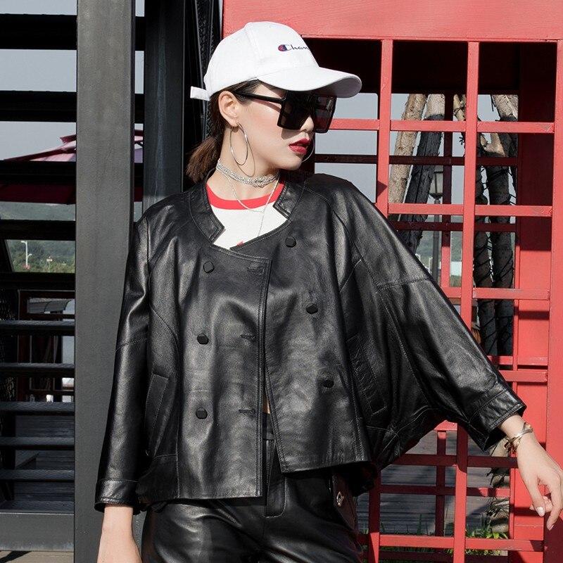 Mouton Hip Luxe Piste Manches En À Double Manteau Nouvelle Boutonnage De Red Veste Femmes 2019 Hop black Cuir souris Véritable Peau Lâche Chauve y0Om8nwNv