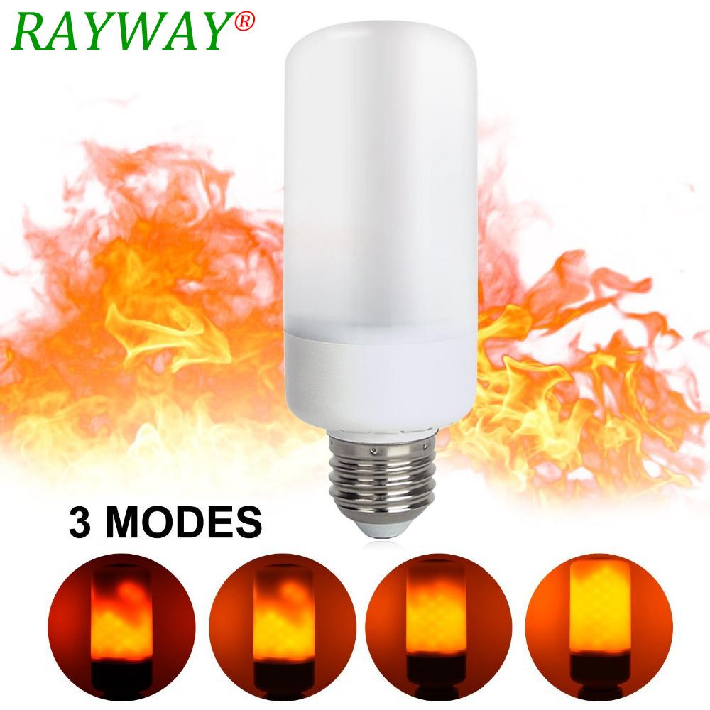 RAYWAY E14 E27 B22 2835 SMD 6W 3 modes LED Flame Effect Fire Light Bulbs Flickering Emulation Decorative Lamp For Christmas
