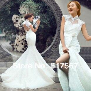 Элегантные кружевные в обтяжку свадебное платье фото