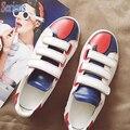 2016 Nueva Llegada Zapatos Hook & loop Del Corazón Del Color de Fondo Plano Zapatos Femeninos Del Todo-Fósforo Blanco Entrenadores Calzado Informal