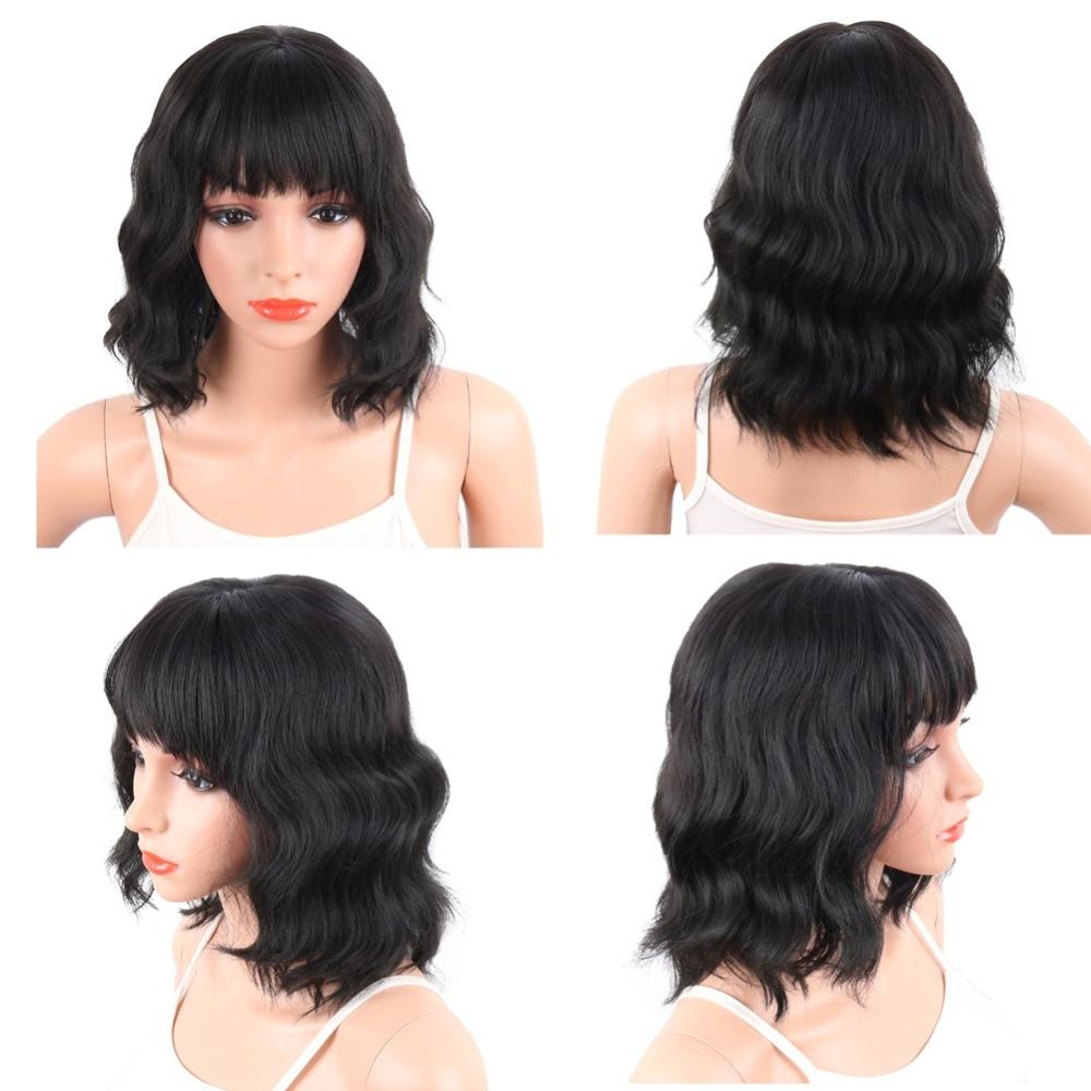 Deyngs Pixie Cut Syntetiska Paryk Med Bangs För Svarta Kvinnor Korta - Syntetiskt hår - Foto 2