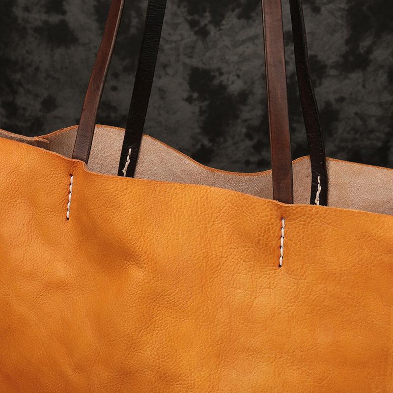 Kapazität Rindsleder Einfache Tote Schulter Tasche Neue Bjyl Weibliche Orange Version Leder Horizontale Frauen Atmosphäre Große ABgPxqwnxT