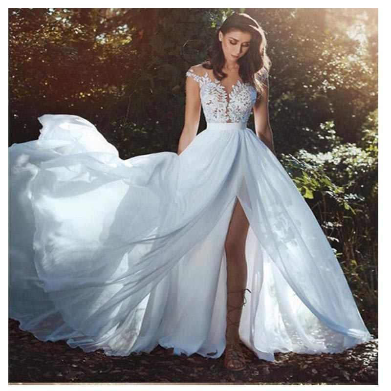 Lorie Elegant Beach Wedding Dress 2019 Cap Sleeve High Split Boho