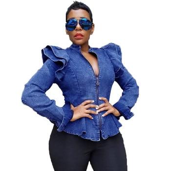 Cropped Jeans Long Sleeve Ruched Zipper Vintage Bomber Jacket Short Blue Denim Jacket