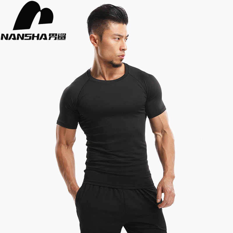 NANSHA New Men Solid Color   T     shirts   Spandex Polyester Compression   Shirts   Fashion Short Sleeve Tops For Male Fitness Clothes