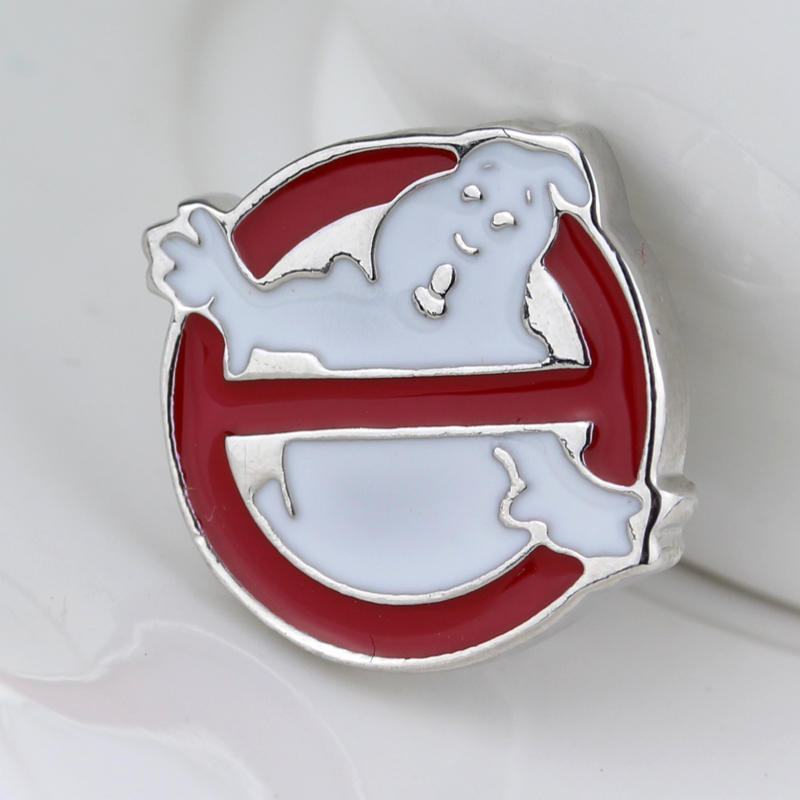 Ghostbusters Brooch Broches Silver Red White Halloween Ghost Ghostbusters Logo Enamel Pin Badge Brooches