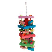 Parrot Wood Strand Wooden 4 Layers Toys Pet Hanging Cage Colorful Chew Rope Block Birds Supplies Knot Ropes Chewing